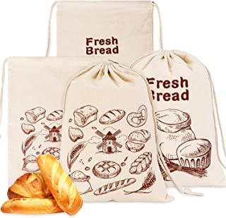 Whaline 4 Pcs Linen Bread Bags 2 Styles Bread Storage Bag Natural Unbleached Bread Bag Food Storage Bag Reusable Drawstrin...