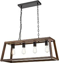 Light Society LS-C262-WL Bristol Walnut Wood Pendant Lamp Chandelier with Metal Chain, Modern Industrial Style