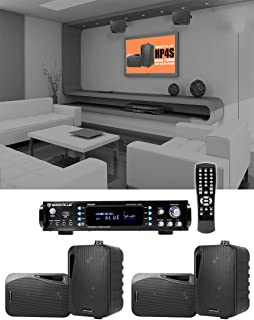 """Rockville 1000 w Home Theater System w/Bluetooth Receiver+(4) 4"""" Swivel Speakers"""