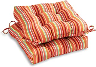 South Pine Porch AM6800S2-WATERMELON Outdoor 20-inch Seat Cushion, Set of 2, Watermelon Stripe