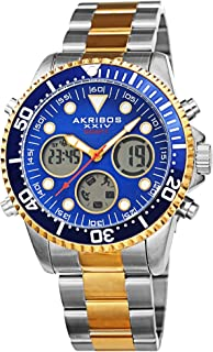 Akribos XXIV Mens Quartz Watch, Analog-Digital Display and Solid Stainless Steel Strap AK1094TTBU