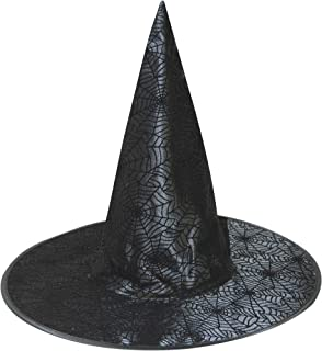 Gerson Satin Spiderweb Design Halloween Witch Hat with Glitter and Chenille 18 inches