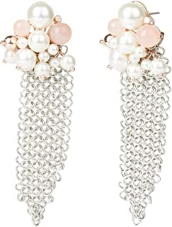 Carolee Women's Rose Quartz And Pearl Cluster Mesh Earring
