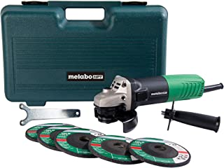 "Metabo HPT Angle Grinder, 4-1/2"", Includes 5 Grinding Wheels & Hard Case,.."