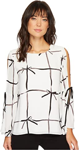 CeCe - Bell Sleeve Lattice Ribbons Blouse w/ Bows