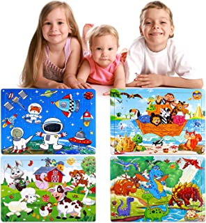 INNOCHEER Puzzles for Kids Ages 4-8, 4 Pack Wooden Jigsaw Puzzles 40-80 Pieces Preschool Educational Learning Toys Set for Boys and Girls