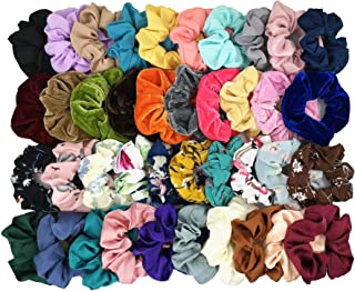 Homerove 40pcs Scrunchies - 10 Vintage Velvet & 10 Solid Colors Chiffon & 10 Flowered Chiffon & 10 Satin Elastic Hair Bands, Scrunchy Hair Ties Ropes for Women or Ladies or Girls Hair Accessories