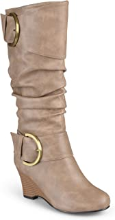 Journee Collection Women's Tall Faux Leather Buckle Boots