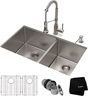 KRAUS KHU103-33-1610-53SS Set with Standart PRO Stainless Steel Sink and Bolden Commercial Pull Faucet Kitchen Sink & Faucet Combo, 33 Inch