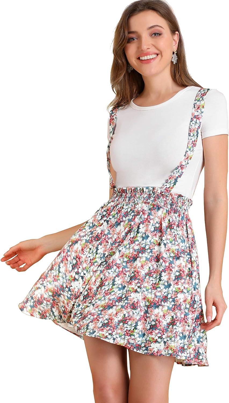 Allegra K Women's Floral Overall Dress Casual Strap Mini Skater Suspender Skirt