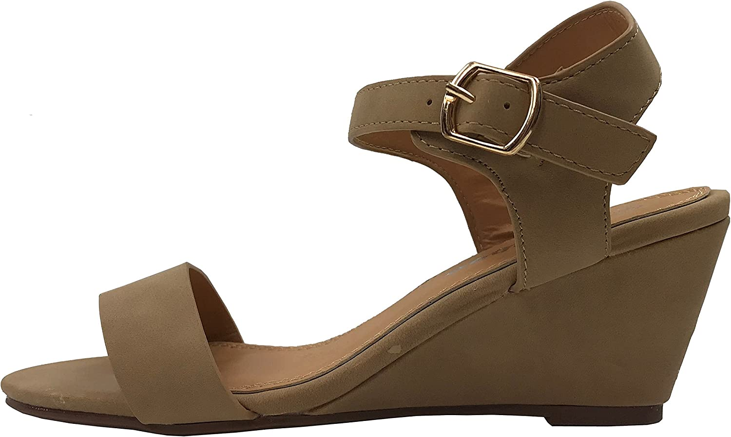 W Collection Womens Open Toe Wedge Sandal Ankle Strap Over Toe Mid High Heel