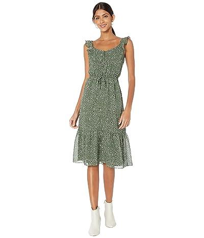 Jack by BB Dakota Leopard Printed Chiffon Midi Dress with Flutter Sleeve (Sage) Women