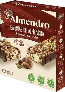 El Almendro - Barritas de Almendra y Chocolate con Leche - 4x25 gr - Sin Gluten - Sin Aceite de Palma - Alto Contenido en ...