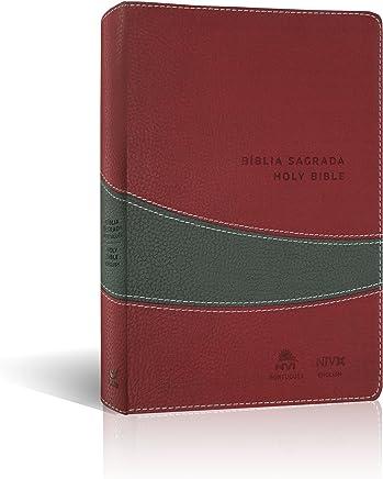 Portuguese - English Holy Bible / Burgundy Leather Bound / Bíblia Sagrada NVI Português - Inglês Vinho e Cinza / (Nova Versão International - New International Version) NVI - NIV