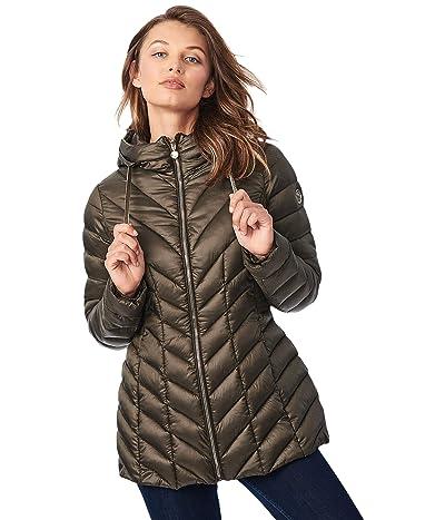 Bernardo Fashions EcoPlume Hooded Packable Jacket in Lust (Dried Basil) Women