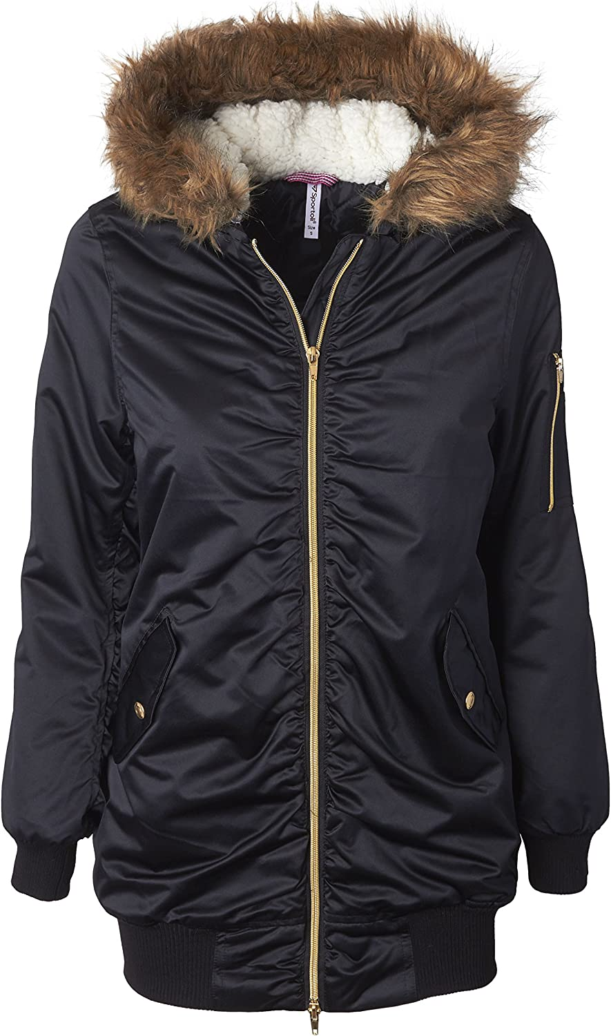 Sportoli Women's Bomber Winter Puffer Jacket with Attached Sherpa Lined Hood and Removable Faux Fur Trim