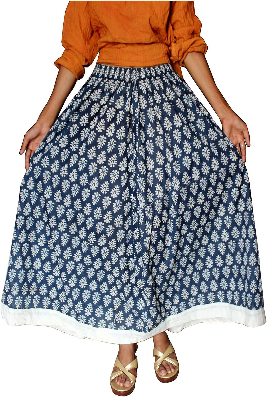 Lakkar Haveli Women's Long Skirt Geometric Print Hippie Beach Wear Indigo Blue Casual Gypsy Plus Size