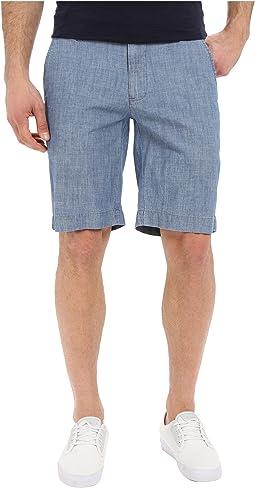Flat Front Chambray Shorts