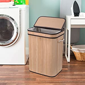 Laundry Hamper with Lid, Bamboo Clothes Hamper with Rope Handles, Laundry Basket with Removable Liner Bag, Foldable Storage Basket for Laundry Room, Bedroom, 72L (Natural)