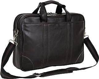 "Ben Sherman Faux Leather Slim 15.6"" Laptop & Tablet Business Case Bag, Brown, Laptop"