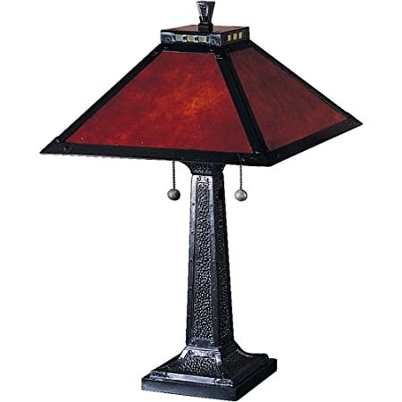 Dale Tiffany TT100174 Tiffany Two Light Table Lamp from Camelot Collection Dark Finish, 15.00 inches, Mica Bronze