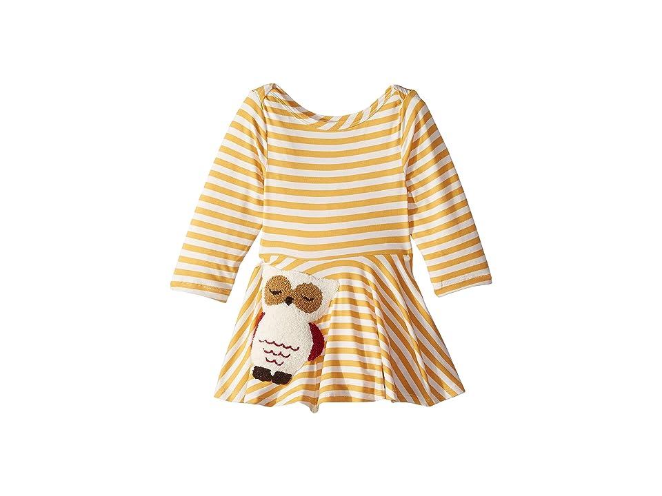 fiveloaves twofish Owl Skater Dress (Infant) (Yellow Stripe) Girl