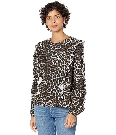 1.STATE Long Sleeve Ruffle Sweatshirt (Luxe Animal) Women