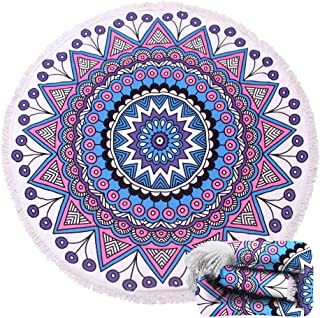 Genovega (23 Options Thick Round Beach Towel Blanket - Indian Bohemian Large Microfiber Terry Beach Roundie Circle Picnic Carpet Yoga Mat with Fringe for Women 2,High Color fastness
