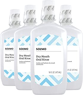 Amazon Brand - Solimo Dry Mouth Oral Rinse, Alcohol Free, Mint, 16 Fluid Ounces, Pack of 4