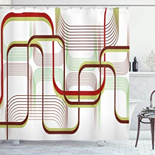 Ambesonne Modern Shower Curtain, Geometric Contemporary Wavy Lines with Abstract Shapes Designs Art Image, Cloth Fabric Bathroom Decor Set with Hooks, 70