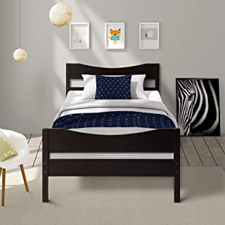 Merax Wood Platform Bed Frame with Headboard/No Box Spring Needed/Wooden Slat Support/Espresso Finish, Twin