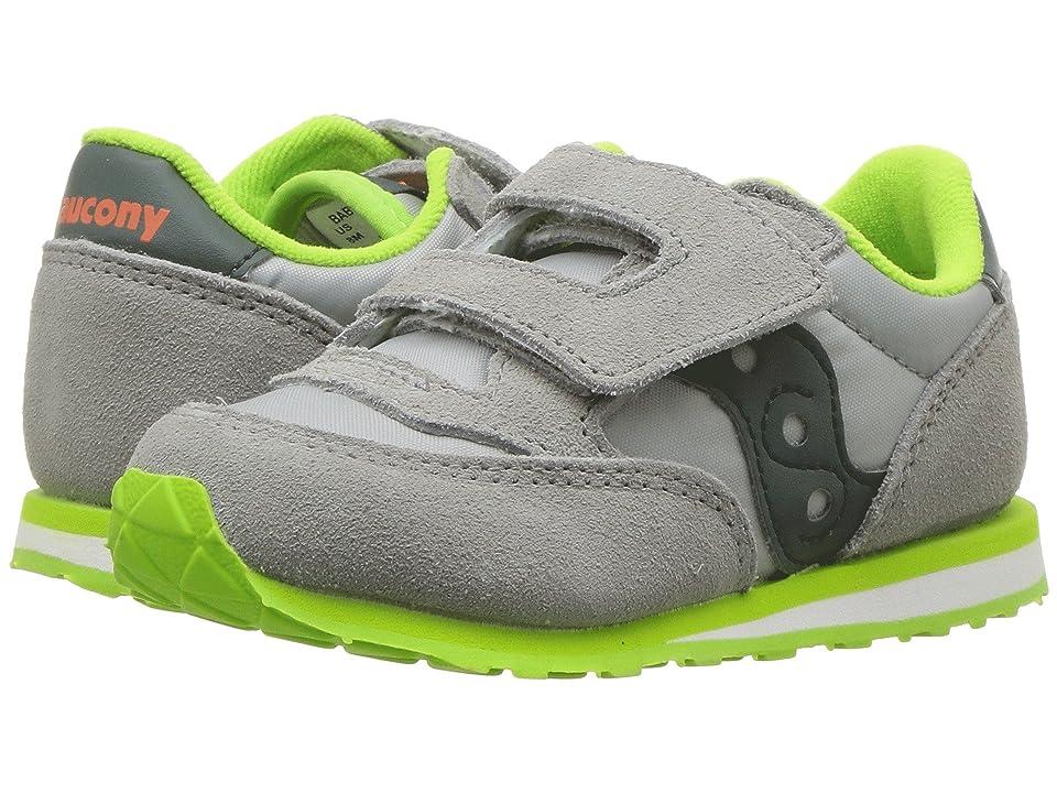 Saucony Kids Originals Jazz Hook Loop (Toddler/Little Kid) (Grey/Dark Green) Boys Shoes