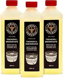 Grill Republic Hochwertige Brennpaste aus Ethanol für den Tischgrill   schnelles Anzünden und hohe Brennleistung garantiert   Brenngel in Premium-Qualität 3, Brennpaste 500 ml