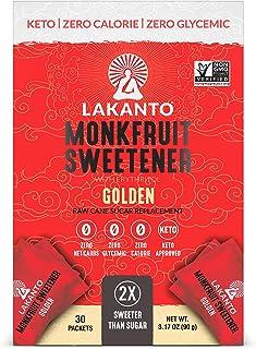 Lakanto Monkfruit Sweetener Packets, 1:1 Sugar Substitute, Keto (Golden, 30 Count)