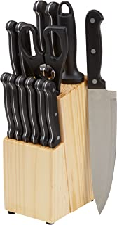 AmazonBasics 14-Piece Kitchen Knife Set with High-Carbon Stainless-Steel Blades and Pine Wood Block