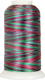 Threadart Variegated Polyester Embroidery Thread - 40wt - 1000m - 25 Multicolors Available - No. 21 - Rainbow