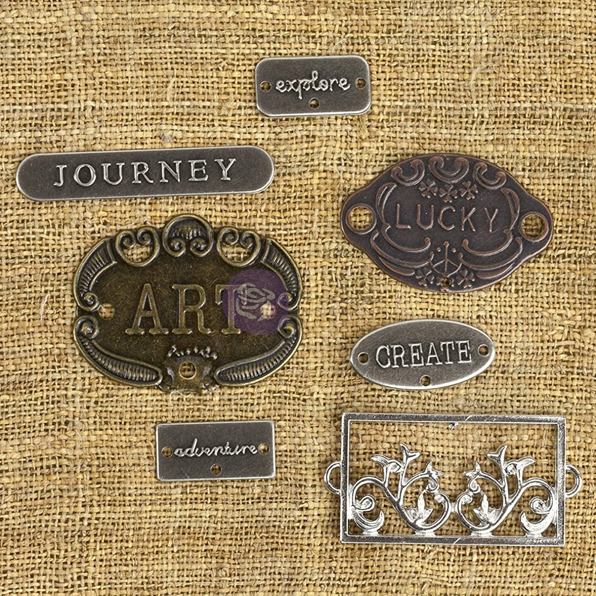 Prima Marketing Mechanicals Metal Embellishments, Plate and Label, 7-Pack