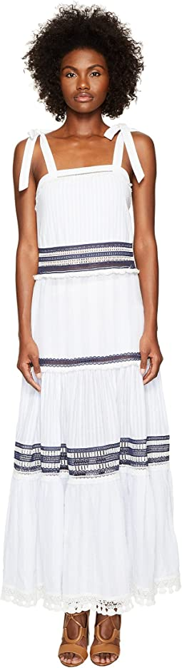 Jonathan Simkhai Mixed Voile Tie Layered Maxi Cover-Up