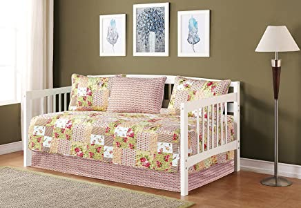 Mk Collection 5pc Day Bed Reversible Quilted Bedspread Set Floral Patchwork Beige Pink Green White New
