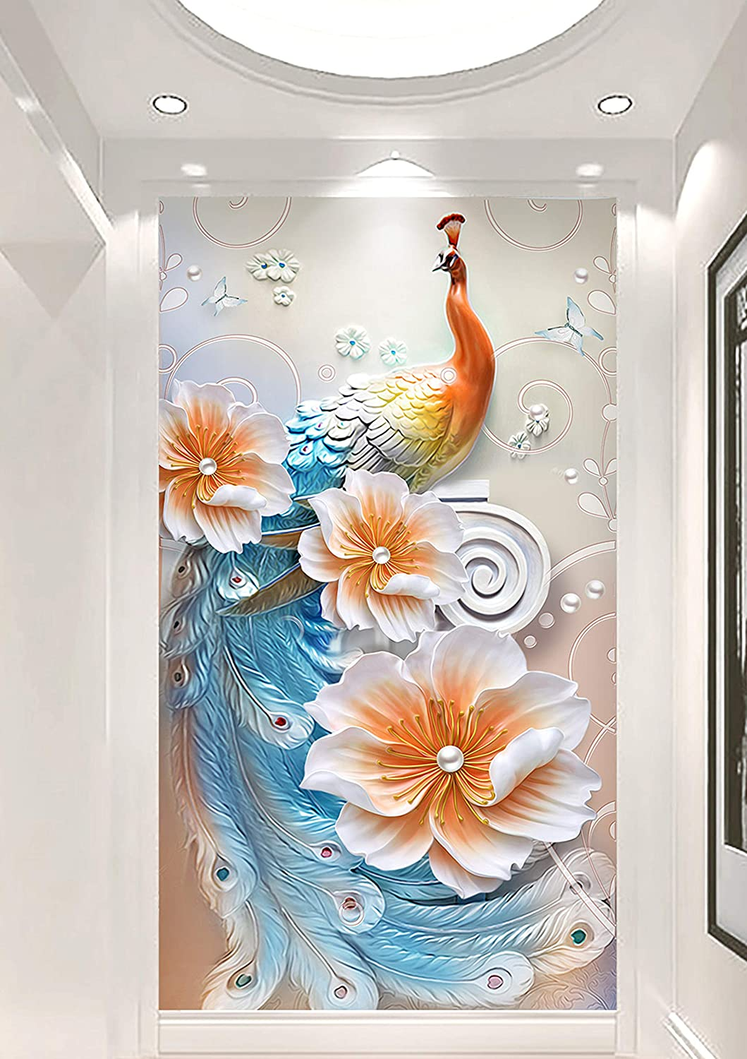 Free shipping on posting reviews AJ WALLPAPER 3D Pearl Peacock WG114 Omaha Mall Print Deco Paper Wall Decal