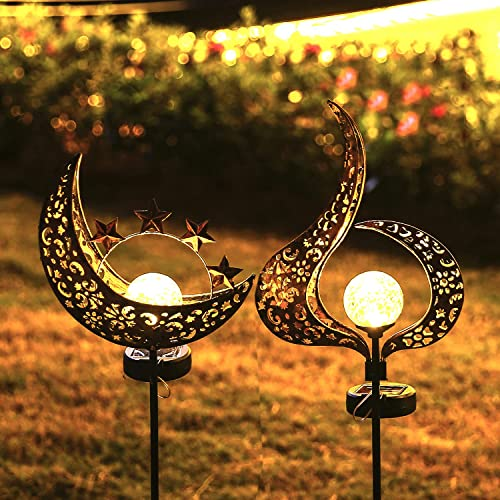 Solar Lights Outdoor Garden Decor - 2 Pack Waterproof Metal Moon Flame Stakes Lights Garden Art Crackle Glass Globe Lights Decorative for Lawn,Patio,Pathway,Yard (Moon and Flame)