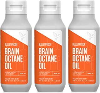 Bulletproof Brain Octane MCT Oil, Perfect for Keto and Paleo Diet, 100% Non-GMO Premium C8 Oil, Ketogenic Friendly, Responsibly Sourced from Coconuts Only, Made in the USA (3-Pack of 16oz)