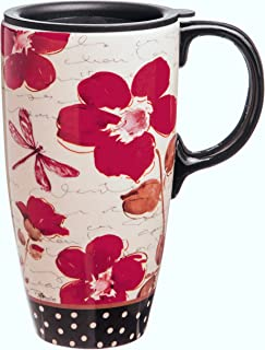 17 oz. Floral Symphony Ceramic Latte Travel Cup with Gift Box by Gifted Living