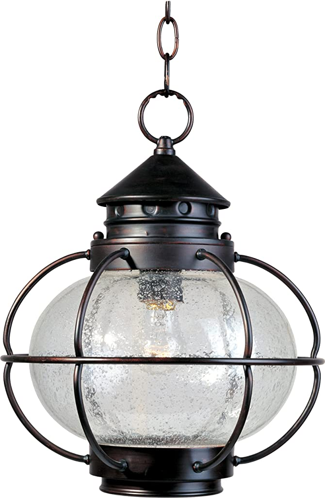 Maxim 30506CDOI Portsmouth 1-Light Outdoor Hanging Lantern, Oil Rubbed Bronze Finish, Seedy Glass, MB Incandescent Incandescent Bulb , 40W Max., Dry Safety Rating, 2900K Color Temp, Standard Dimmable, Glass Shade Material, 7200 Rated Lumens