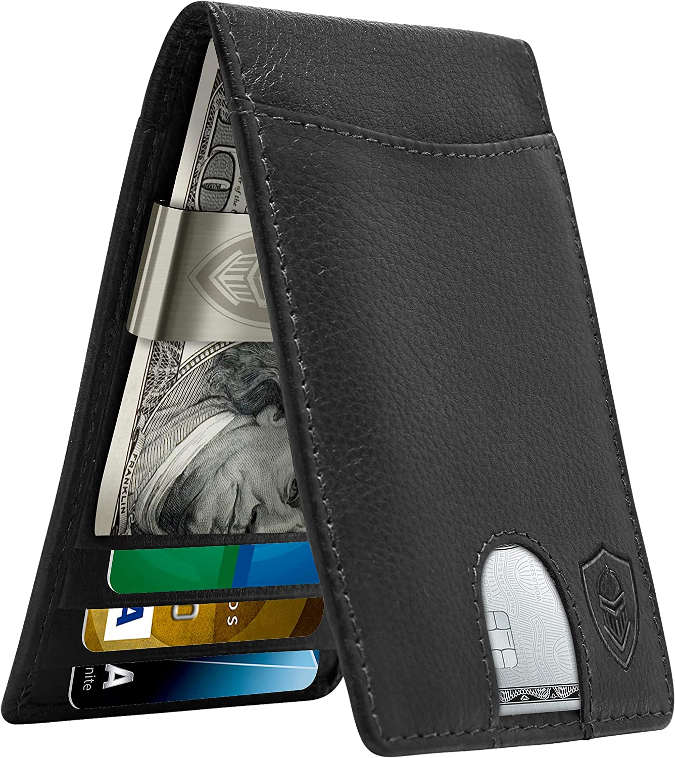 Real Leather Wallets for Men - Fro Year-end annual account Clip Money Wallet shipfree Bifold RFID