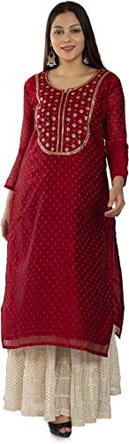 Dirza Fashion Women's Chanderi Straight Festive Kurta, Size S-XXL