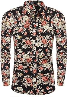 Men's Floral Print Slim Fit Long Sleeve Casual Button Down Shirt