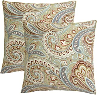 Softta Paisley Floral Design Throw Pillow Cover 800 TC 100% Egyptian Cotton (2-Pack No Comforter No Filling) Decorative Pillow Case Home Soft (18x18 inch) Khaki