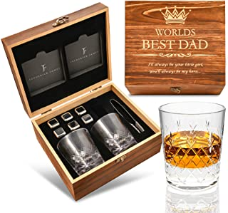 Gifts for Dad from Daughter - Engraved 'Worlds Best Dad. You'll Always be my Hero' Whiskey Glass Set I Fathers Day Gifts f...