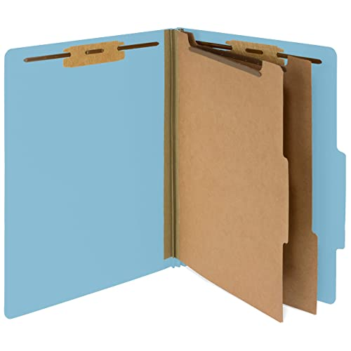 10 Blue Classification Folders - 2 Divider - 2 Inch Tyvek Expansions - Durable 2 Prongs Designed to Organize Standard Medical Files, Law Client and Office Files - Letter Size, Light Blue, 10 Pack
